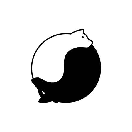 Cat and Dog In Balance logo Illustration