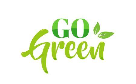 Passez au logo vert. Illustration vectorielle isolée Logo