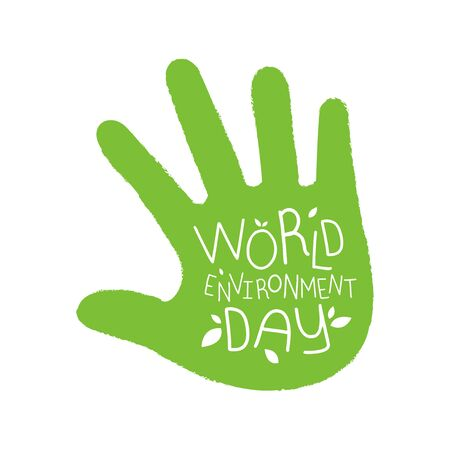 The Green Palm with text World Environment day 向量圖像