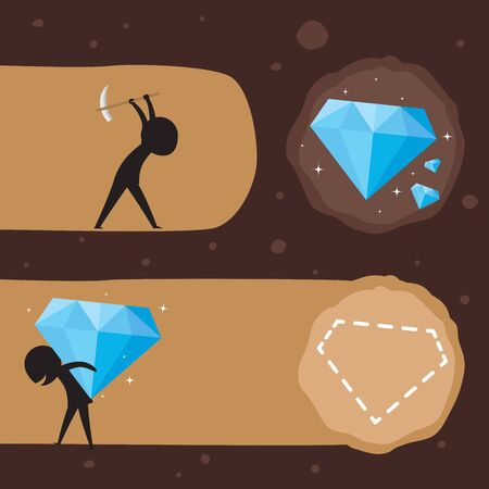 Carry diamond in a shoulder. Silhouette Illustration