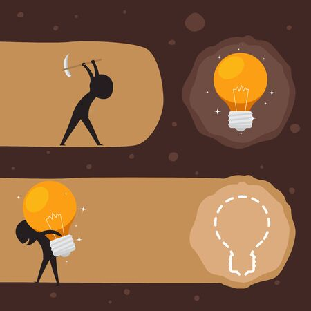 Carry light bulb in a shoulder. Silhouette Illustration