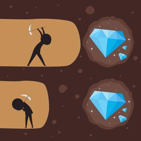 Digging a diamond. Silhouette illustration Vettoriali