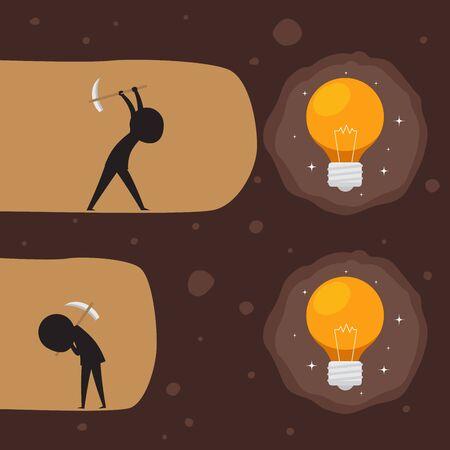 Digging a light bulb. Silhouette illustration