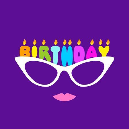 Birthday Glasses Female Version. Isolated Vector Illustration Foto de archivo - 135457504