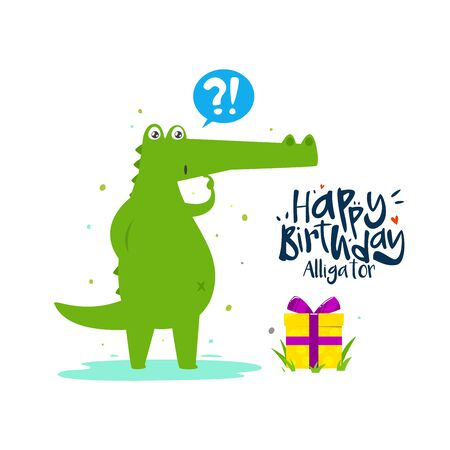 A green alligator surprised on his or her Birthday
