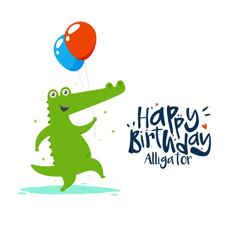 A green alligator is holding two balloons on his or her Birthday