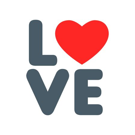 Love text with Rounded Typography Ilustrace