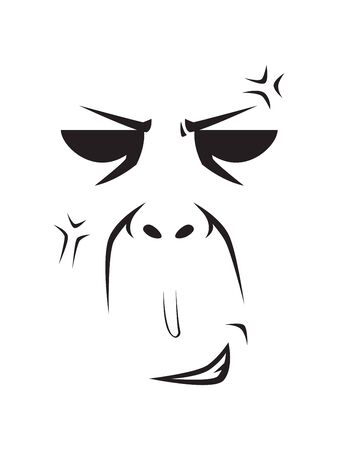 Long Face Expression - Holding the Anger. Isolated Vector Illustration