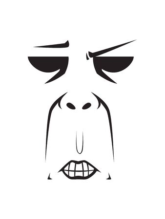 Long Face Expression - Gnashing teeth. Isolated Vector Illustration