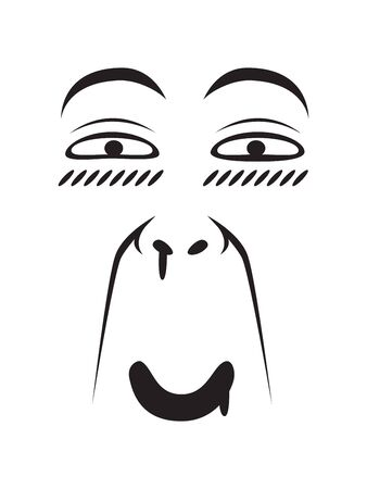 Long Face Expression - Pervert Face. Isolated Vector Illustration