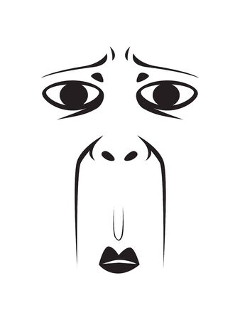 Long Face Expression - Stunned Face. Isolated Vector Illustration Ilustração
