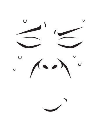 Langer Gesichtsausdruck - Schweiß im Gesicht. Isolierte Vektorillustration