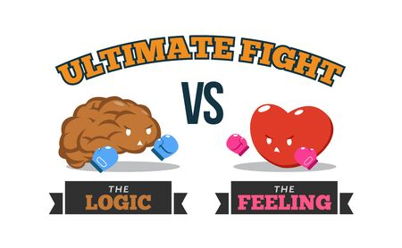 Brain Versus Heart. Logic Versus Feeling. Conceptual Vector Illustration