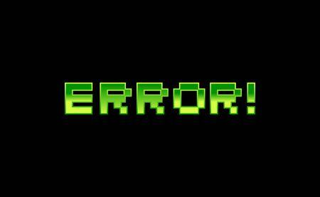 Green Error Typography on dark background. Isolated Vector Illustration