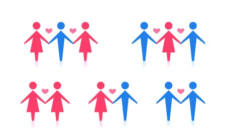 A set of different couple. Abstract sexuality icon. Vector Illustration