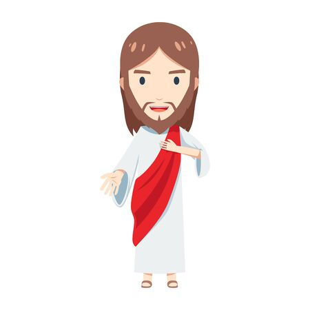 Cute Jesus Christ is holding his chest and offer his hand to help 向量圖像