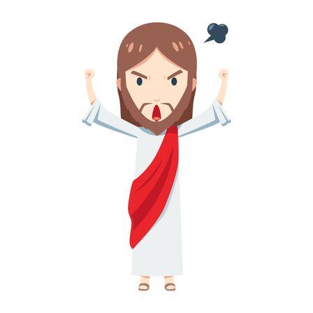 Cute Jesus Christ is feeling angry 일러스트