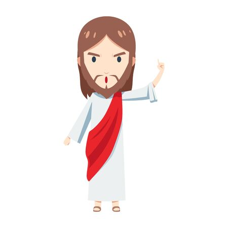 cute Jesus Christ is teaching with his left hand raised 向量圖像