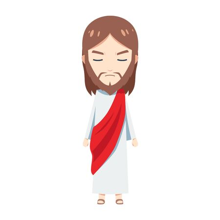 Cute Jesus is mad. Isolated Vector illustration
