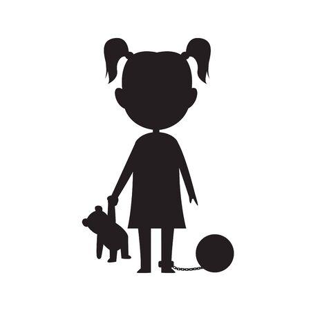 fille silhouette tenant son ours avec la jambe enchaînée Vecteurs