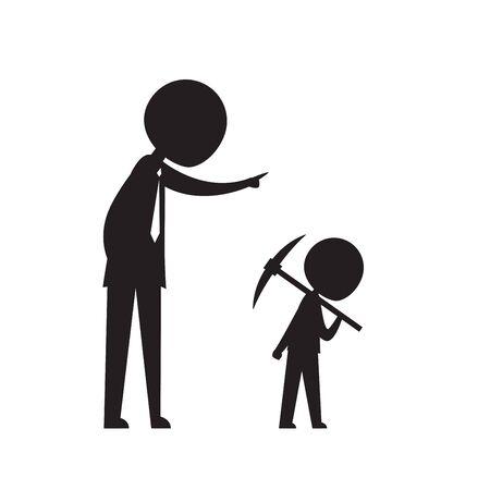 homme d'affaires silhouette commande à un petit enfant de travailler
