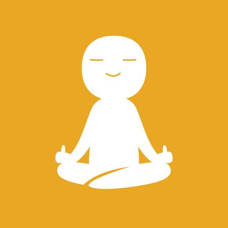 A man meditate with showing middle finger