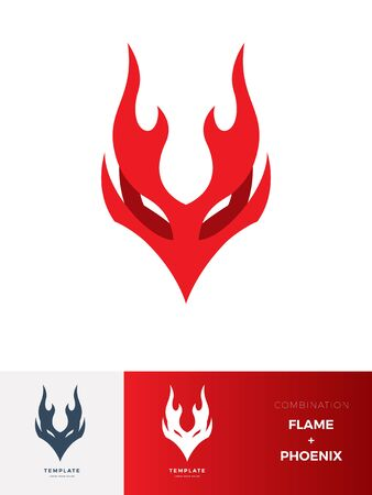 Abstract sign of Flame Creature : Phoenix. Vector Illustration 向量圖像
