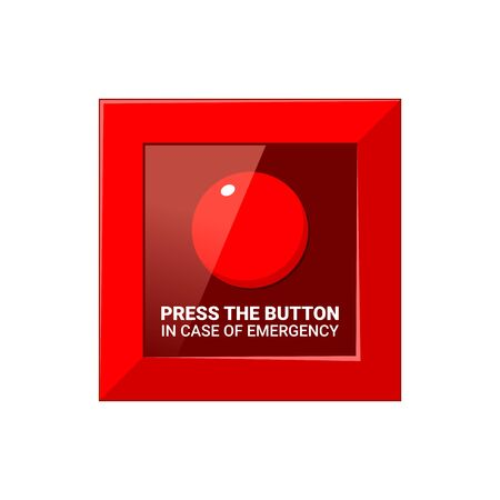 The Emergency Red Button. Isolated Vector illustration 向量圖像