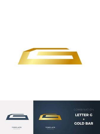 Gold Bar sign with description. Vector Illustration 일러스트