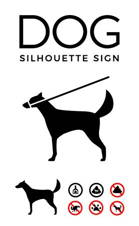 Black Silhouette Sign of Dog. Vector Illustration