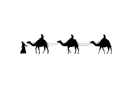 Three Camels and the four people. Vector Illustration