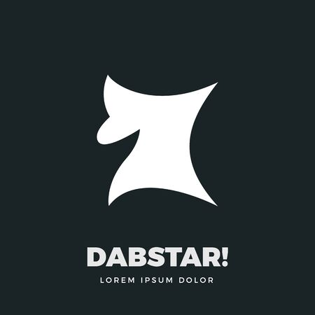 abstract sign of Silhouette dab star. Isolated vector Illustration