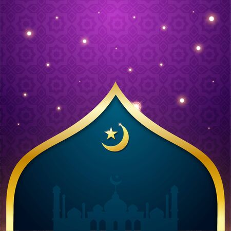Islamic Greeting Card. Gold and purple Color. Vector Illustration
