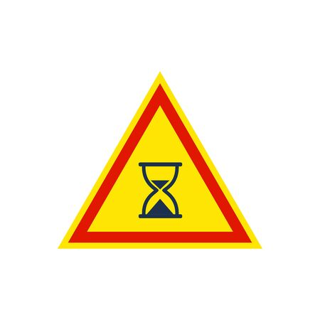 hour glass icon inside the triangle road sign 向量圖像
