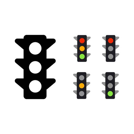 Set of Traffic Light Illustration. Isolated Vector Illustration 向量圖像