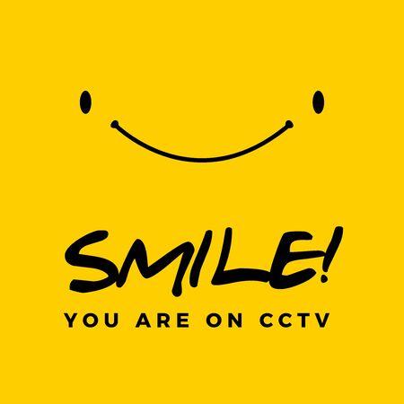 Smile you are on cctv text. Isolated Vector Illustration Illusztráció