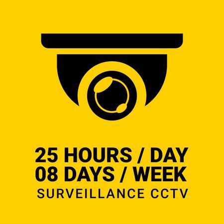 25 hours non-stop CCTV sphere in yellow background Illusztráció