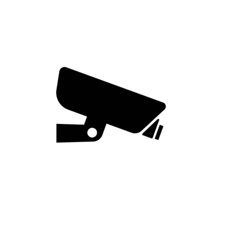 black CCTV box icon. Isolated Vector Illustration