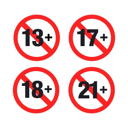 Set marks of Forbidden age limit Иллюстрация