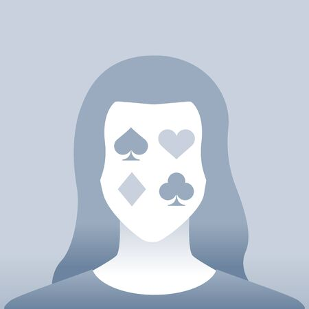 Default Female Portrait with poker icon on her face Ilustrace