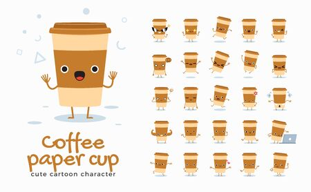 Vector set of cartoon images of Coffee Cup. Vector Illustration