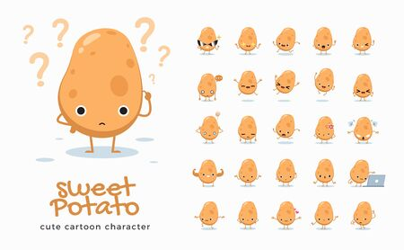 Vector set of cartoon images of Potato. Vector Illustration