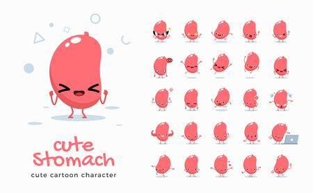 Vector set of cartoon images of Stomach. Vector Illustration