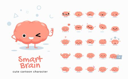 Vector set of cartoon images of Brain. Vector Illustration