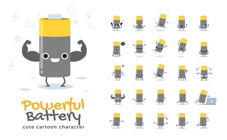 Vector set of cartoon images of Battery. Vector Illustration 向量圖像