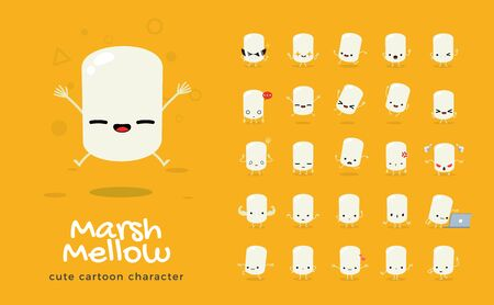 Vector set of cartoon images of marshmallow. Vector Illustration