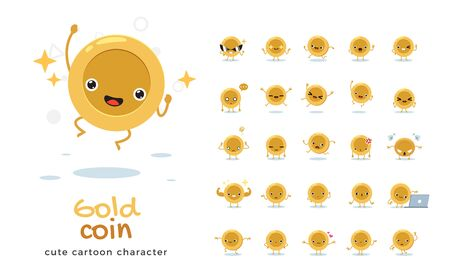 Vector set of cartoon images of golden coin. Vector Illustration