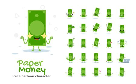 Vector set of cartoon images of Paper Money. Vector Illustration