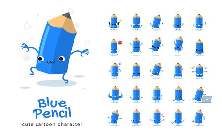 Vector set of cartoon images of Blue pencil. Vector Illustration