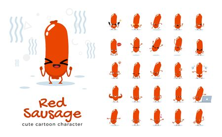 Vector set of cartoon images of sausage. Vector Illustration Illustration